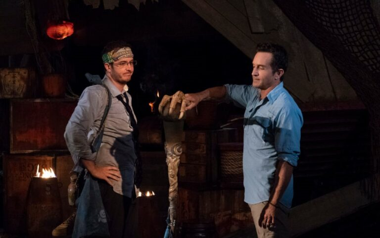 "MANA ISLAND - JUNE 8: ""I Need a Dance Partner"" - Jeff Probst extinguishes Rick Devens' torch at Tribal Council on the fourth episode of SURVIVOR: Edge of Extinction"